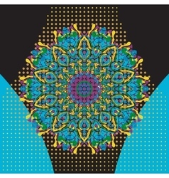 Flat Print with mandala in oriental style vector image