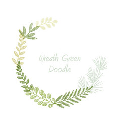 greenery scribble hand drawn foliage border vector image vector image