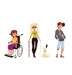 Group of disabled children wheelchair blind vector