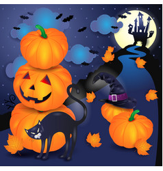 Halloween background with pumpkins black cat and vector