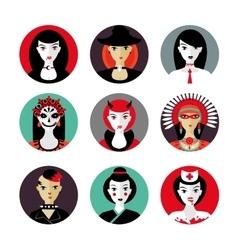 Halloween woman cosplay Female avatar set Flat vector image