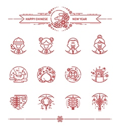 Happy chinese new year icons set vector