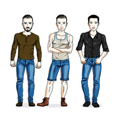 happy men group standing wearing fashionable vector image