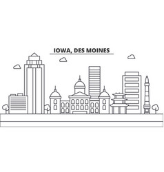 Iowa des moines architecture line skyline vector