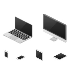 Isometric 3d laptop tablet smartphone computer vector