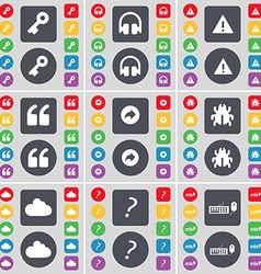 Key headphones warning quotation mark back bug vector