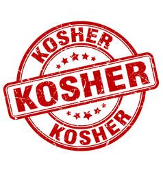 Kosher red grunge round vintage rubber stamp vector