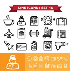 Line icons set 16 vector image