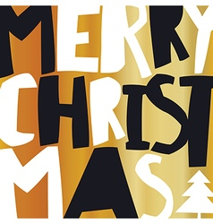 Merry christmas gold greeting card vector