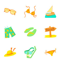 Rest on sea icons set cartoon style vector