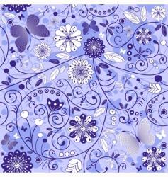 seamless floral violet blue pattern vector image