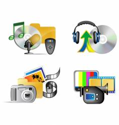set of multimedia internet icon vector image vector image
