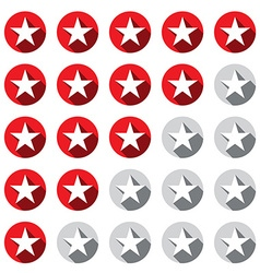 Stars Rating Symbols Set Red and Grey - Silver vector image vector image