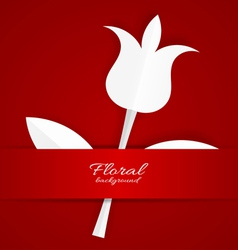 White paper Tulip on red background vector image vector image