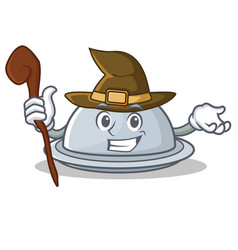 Witch tray character cartoon style vector