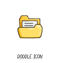Yellow doodle folder icon with paper vector