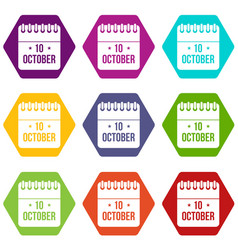 10 october calendar icon set color hexahedron vector image