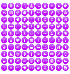 100 sport life icons set purple vector