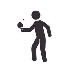 Slihouette player ping pong vector