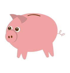 pig cute animal character farm vector image