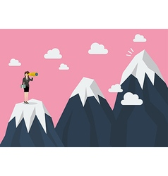Business woman looking for mountain peak vector