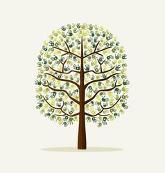 Green hand print tree environment vector