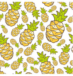 Seamless summer pattern with color pineapple vector