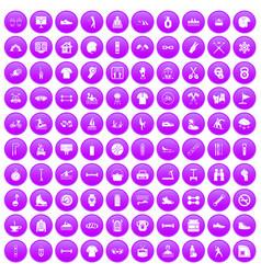 100 sport life icons set purple vector
