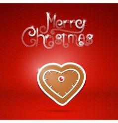 Gingerbread heart and merry christmas title on red vector