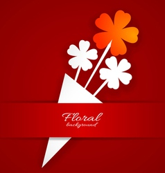 Abstract paper flower on a red background vector