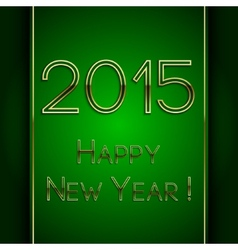 rectangle green greeting new year 2015 postcard vector image