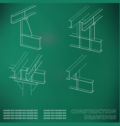 3d metal construction the beams and columns cover vector image vector image