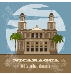 Nicaragua landmarks retro styled image vector