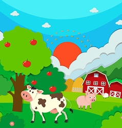 Farm scene with animals and barn vector