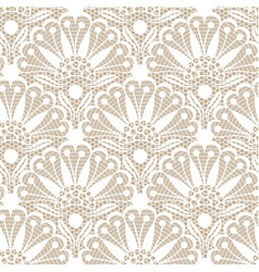 Seamless flower lace pattern on beige background vector