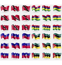 Trinidad and tobago mauritius haiti mozambique set vector