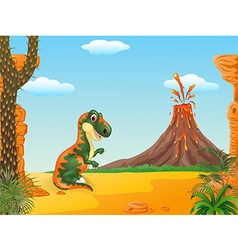 Cartoon funny tyrannosaurus with the volcano vector