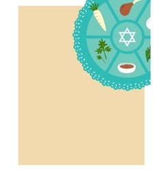 Passover seder flat icons greeting card template vector