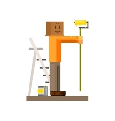 Man painting the wall with box on his head vector