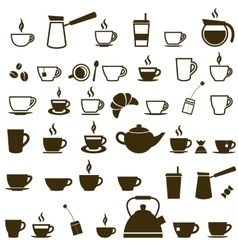 Set of coffee cup and tea cup icons vector