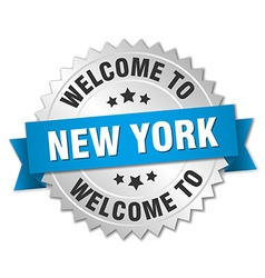 New york 3d silver badge with blue ribbon vector