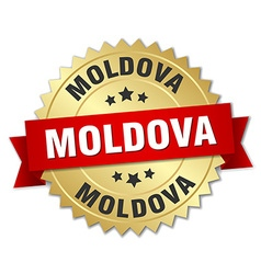 Moldova round golden badge with red ribbon vector