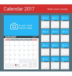 Wall calendar planner for 2017 year design print vector