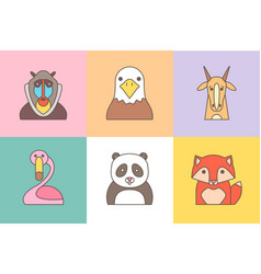 animal set of portrait in flat graphics vector image