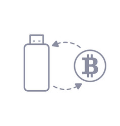 bitcoin flash drive sync and storage line style vector image vector image