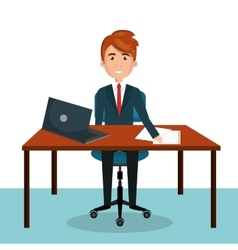 businessman work sitting office desktop design vector image vector image
