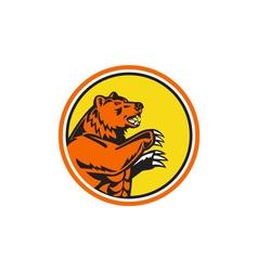 California grizzly bear side circle retro vector