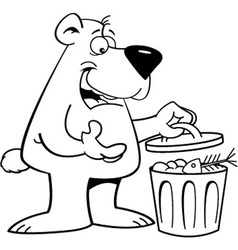 Cartoon bear looking in a garbage can vector image vector image