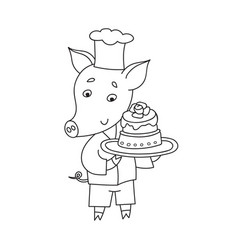 Cheerful pig with sweet cake cartoon happy vector