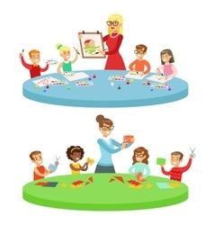 Children In Art Class Two Cartoon vector image vector image